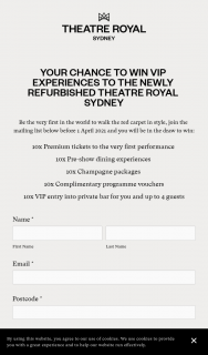 Theatre Royal Sydney – Win VIP Experiences to The Newly Refurbished Theatre Royal Sydney