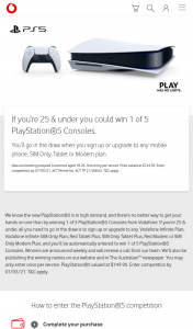 Vodafone – Win 1 of 5 Playstation®5 Consoles (prize valued at $749.95)