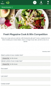 Woolworths-Fresh magazine – Win a $50 Woolworths Gift Card