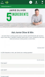 Woolworths-Fresh magazine – Win a $100 Woolworths Gift Card and a Copy of Jamie Oliver 5 Ingredient Cookbook $24