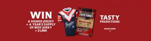 Jack Links – Win a major prize of a signed Roosters jersey, a years supply of beef jerky PLUS $1,000 cash OR weekly prizes of Roosters Caps and Beef Jerky products