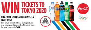 Woolworths Rewards – Coca-Cola – Win 1 of 4 trips for 2 to Toyko OR 1 OR 1 of other thousand minor prizes