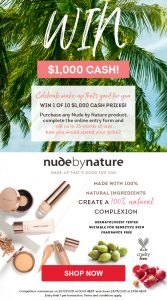 Chemist Warehouse – Buy Nude By Nature to Win 1 of 10 cash prizes valued at $1,000 each