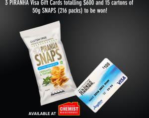 Piranha Corp – Win a major prize of a $300 Visa gift card PLUS a carton of Piranha Snaps Oregano Thyme OR 1 of 17 minor prizes
