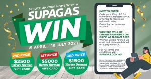Supagas – Win a grand prize of a $5,000 Harvey Norman gift card OR 1 of 2 minor prizes