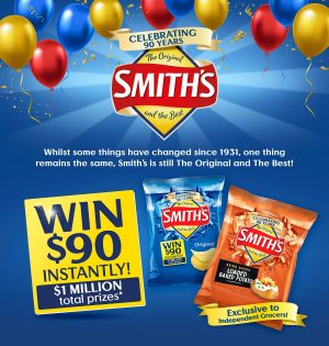 The Smith's Snackfood Company – 90th Birthday – Win a major prize of $250,000 OR thousands of instant win prizes