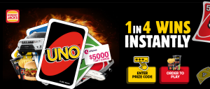 Hungry Jack's UNO – Win a share of $87 million in prizes including 2 Suzuki cars, $5,000 in gift cards, a TCL Home Entertainment System, free Fuel for a Year and many more