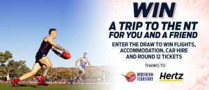 Tourism NT, Hertz and Melbourne Football Club – Win a major prize of a trip for 2 to Alice Springs OR a minor prize