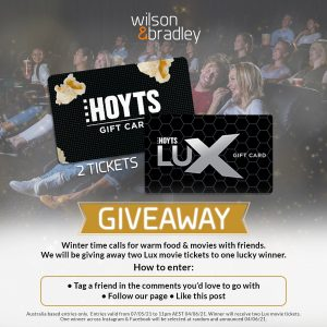 Wilson & Bradley – Win 2 Lux movie tickets