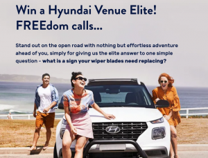 Wipertech – Win a brand new Hyundai Venue Elite SUV automatic valued at over $30,000 PLUS a lifetime supply of Wipertech wipers