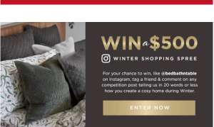 Bed Bath N' Table – Win 1 of 2 gift vouchers valued at $500 each