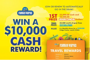 Family Parks – Join or Renew to Win 1 of 8 prizes, including a major prize of $10,000