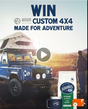 Harris Coffee Roasters – Win a major prize of a 2003 Land Rover Defender manual PLUS more OR 1 of 250 minor prizes