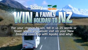 Today Show – Win Apollo Motorhome New Zealand Holiday for a family  of 4 (return flights included)