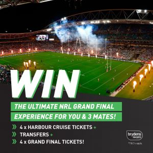 Brydens Lawyers – Win the 2021 NRL Grand Final prize package for 4 people OR weekly prizes
