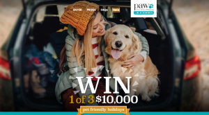 PAW by Blackmores – Win 1 of 3 Pet Friendly Holiday prize packs for 2 valued at $10,000 each