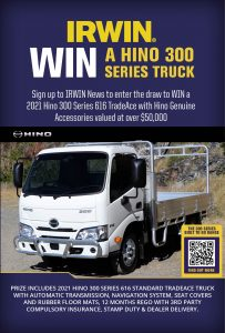 IRWIN – Sign up to Win a 2021 Hino 300 Series 616 TradeAce truck with automatic transmission PLUS accessories