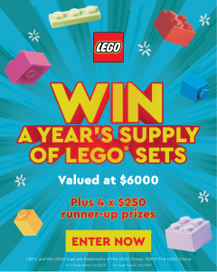 Bricks Megastore – Win a major prize of a year supply of Lego pack valued at $6,000 OR 1 of 4 minor prizes of a $250 Lego gift card each