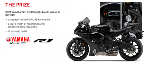 Budget Direct – Win a Yamaha YZF-R1 in Black valued at $27,349