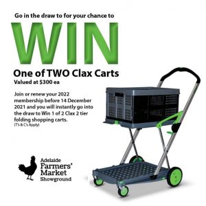 Adelaide Showground Farmers Market – Win 1 of 2 Clax 2 tier folding shopping carts valued at $300 each