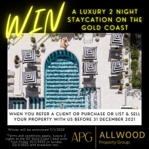 Allwood Property Group – Win a 2-night staycation on the Gold Coast