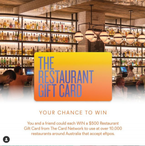 The Card Network – Win a $500 Restaurant Gift card for you and another one for your friend